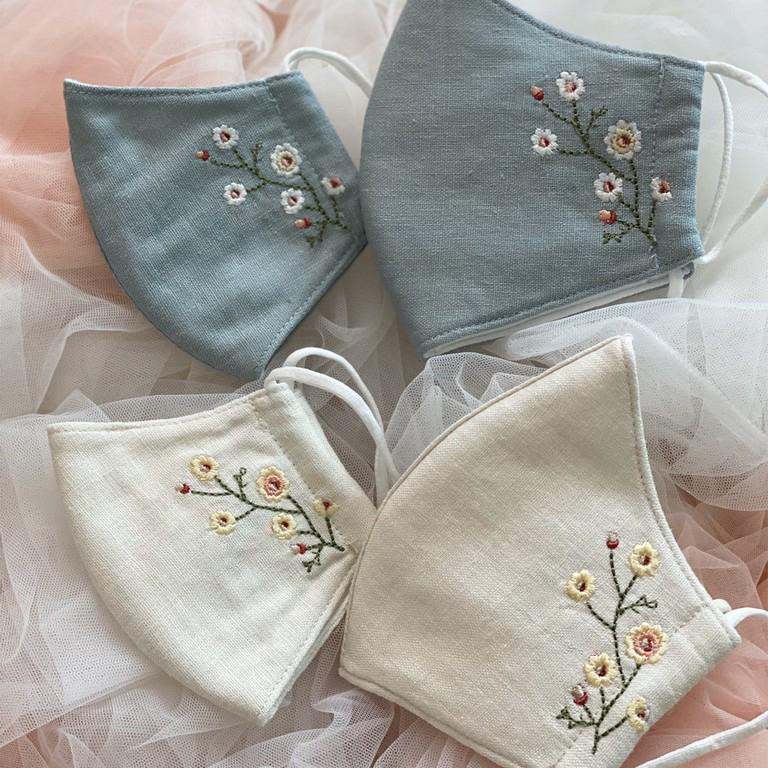 [CLEARANCE SALE] Spring Hand Embroidery Natural Linen Face Mask