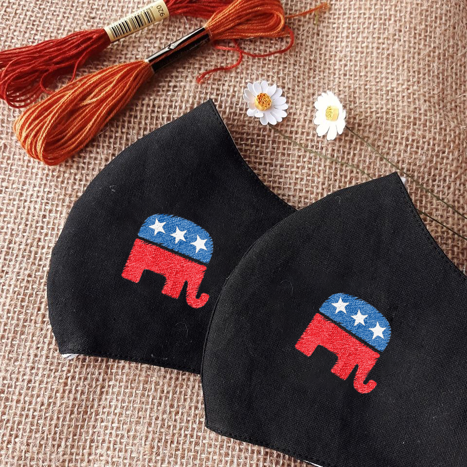 Republican Elephant - Hand Embroidery Linen Face Mask