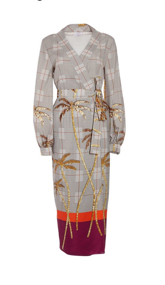 STELLA JEAN  Gold Bead Palm Print Wrap Dress