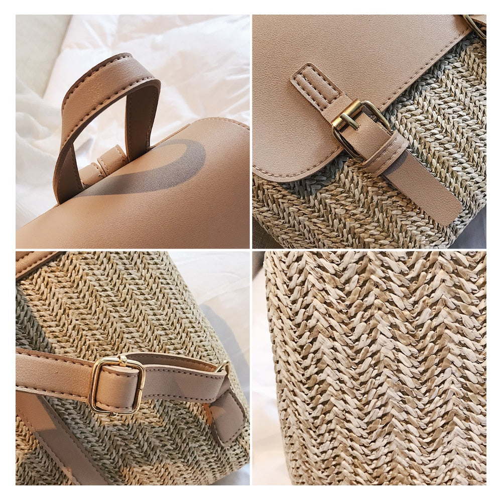 Straw Woven Backpack  Summer