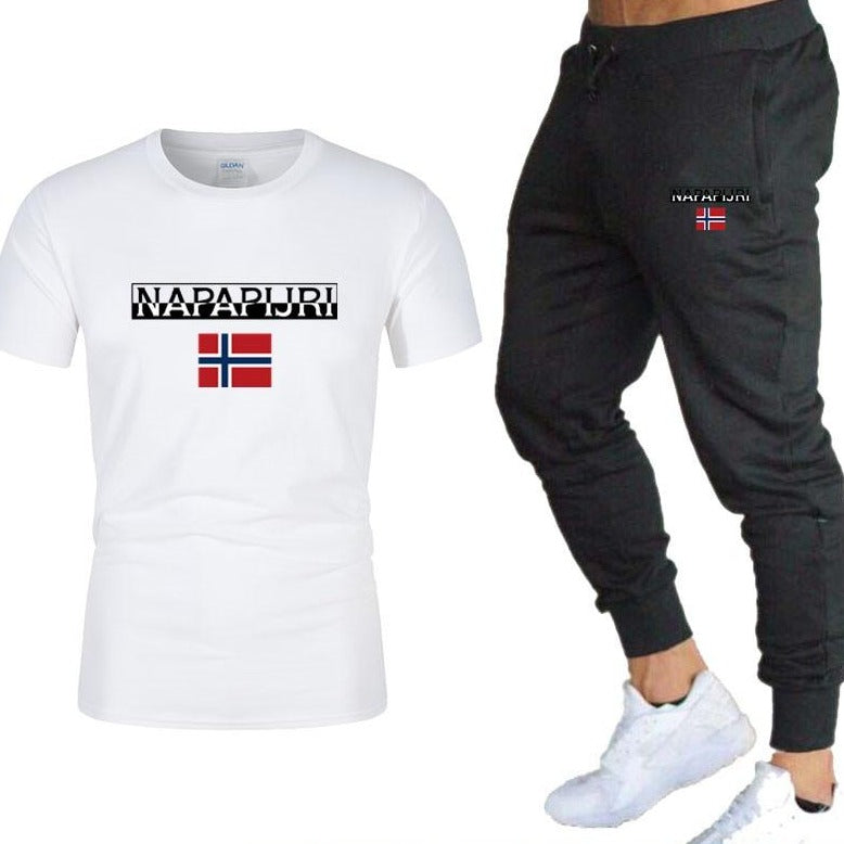 Sportswear Fitness Summer  T shirt + Trousers Men's 2 Pieces Sets