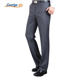 Covrlge Men's Suit Pants High Quality Men Dress Pants Silk Trousers Straight Business Mens Formal Pants Big Size 40 42 44 MKX005