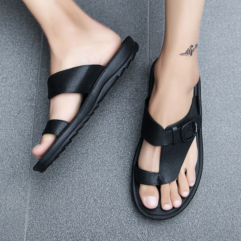 Man Beach Sandals 2019 Summer Gladiator Men's Outdoor Shoes Roman Men Casual Shoe Flip Flops Fashion Slippers Flat Plus Size 46