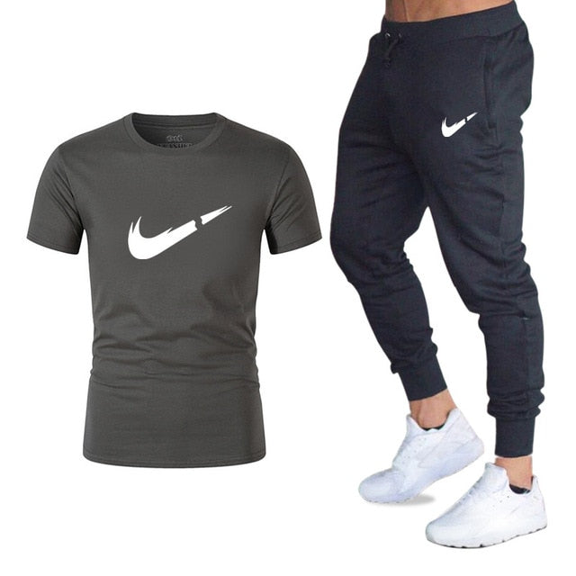 Fashion Summer - Men's Sets T Shirts+pants Two Pieces - Set Casual Tracksuit Male - Fitness, various combinations of colors and patterns