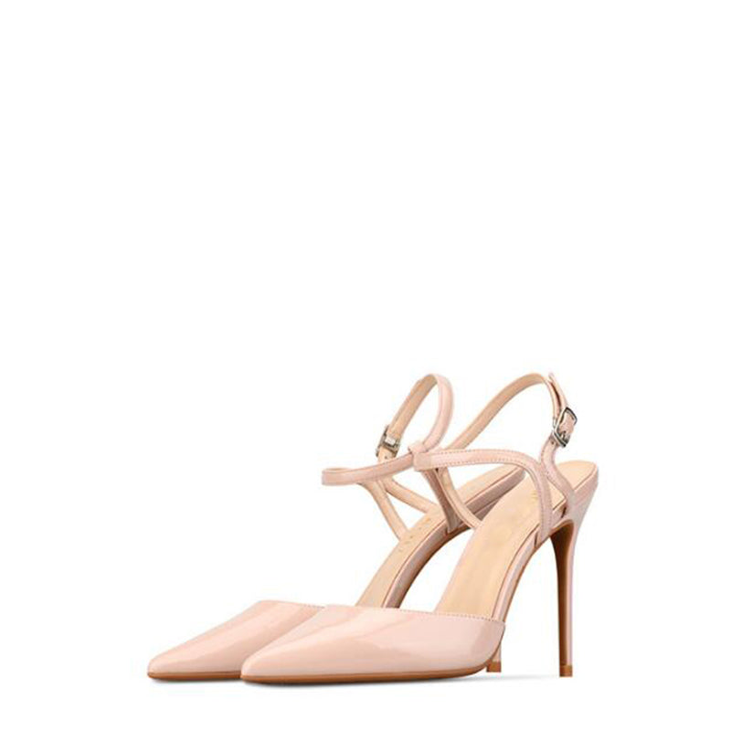 2019 summer Female sandals Pointed Toe high heels Nude color tip with 10cm fine with high heels Pumps Zapatos Mujer