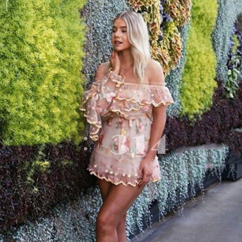 Handmade Flower Embroidery High Quality Ruffled Tulle Lace One Shoulder Dress Sexy 2019 Summer Dress New Short Women'S Clothing