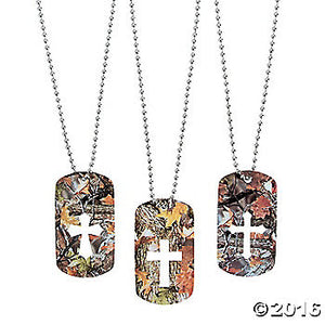 CA245-  CAMO CROSS CUTOUT DOG TAG NECKLACE