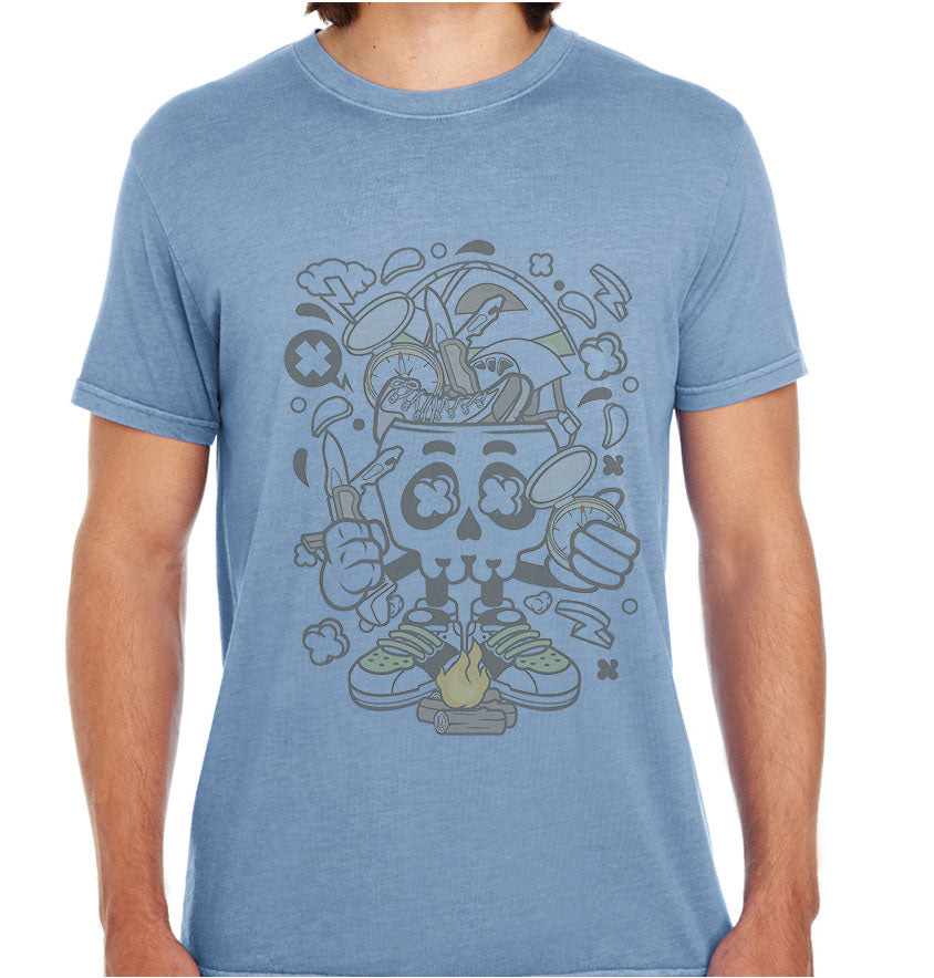 Camp Fire Skull-ECO Tshirts.com