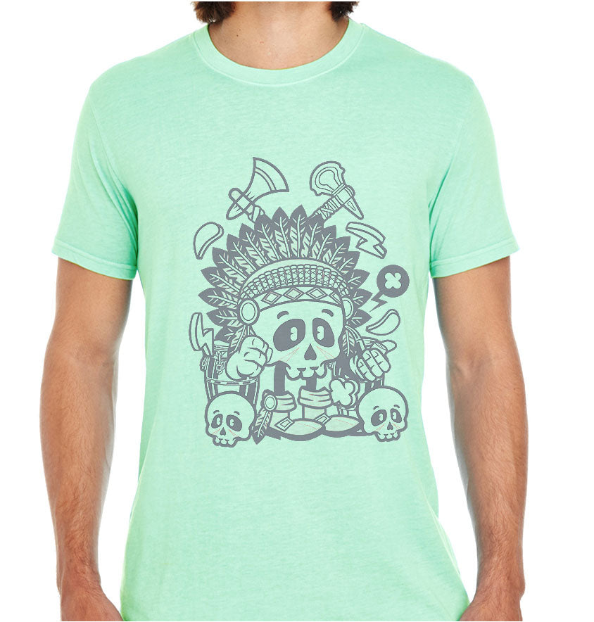 Indian Chief Skull-ECO Tshirts.com