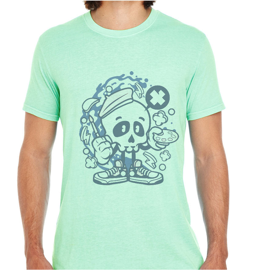 Painter Skull-ECO Tshirts.com