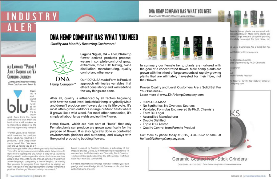 DNA Hemp Company Industry News Alert in Smoke and Vape Business Solutions Magazine