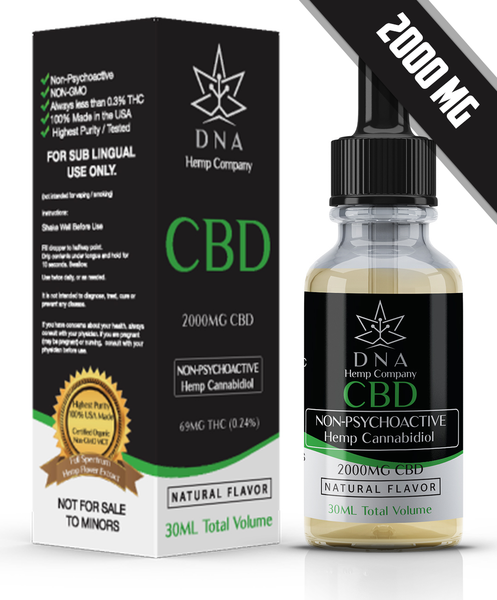 2000MG Pure CBD Oil CBD Tincture Natural Organic Hemp Cannabinoidoil