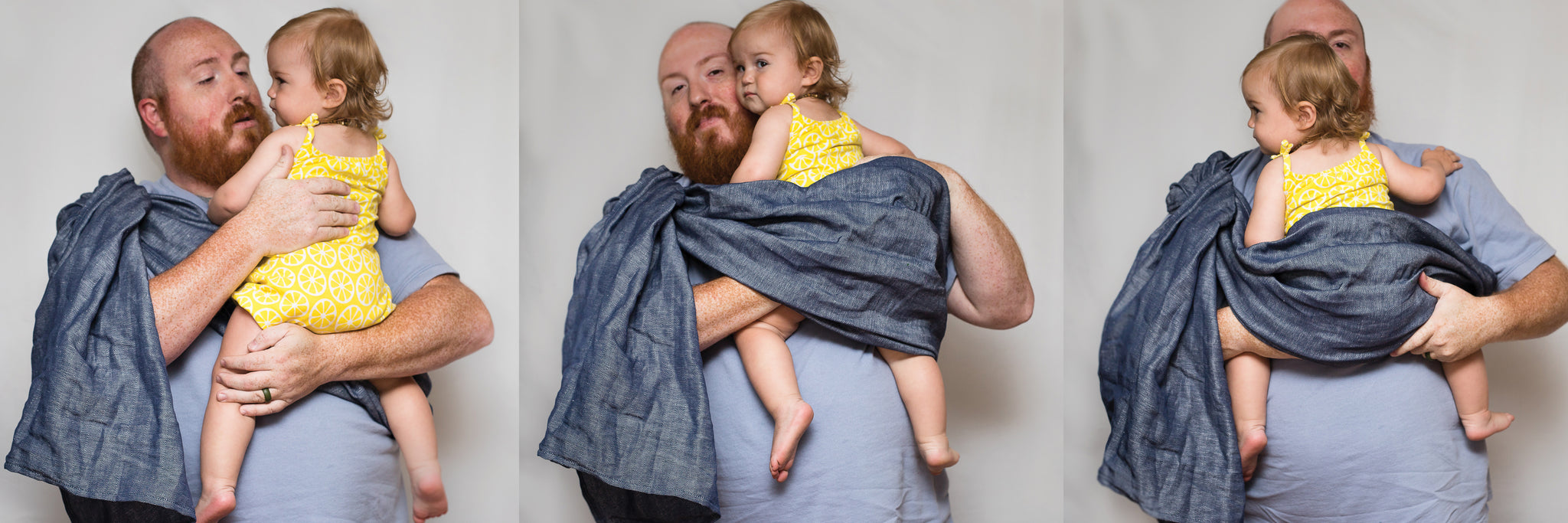 How to use a Studio Tekhni ring sling baby carrier.  Easy, stylish, modern linen fabric carriers from newborn and beyond.  A baby and registry essential item.
