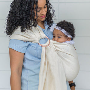 pearl + rose gold  |  ring sling baby carrier