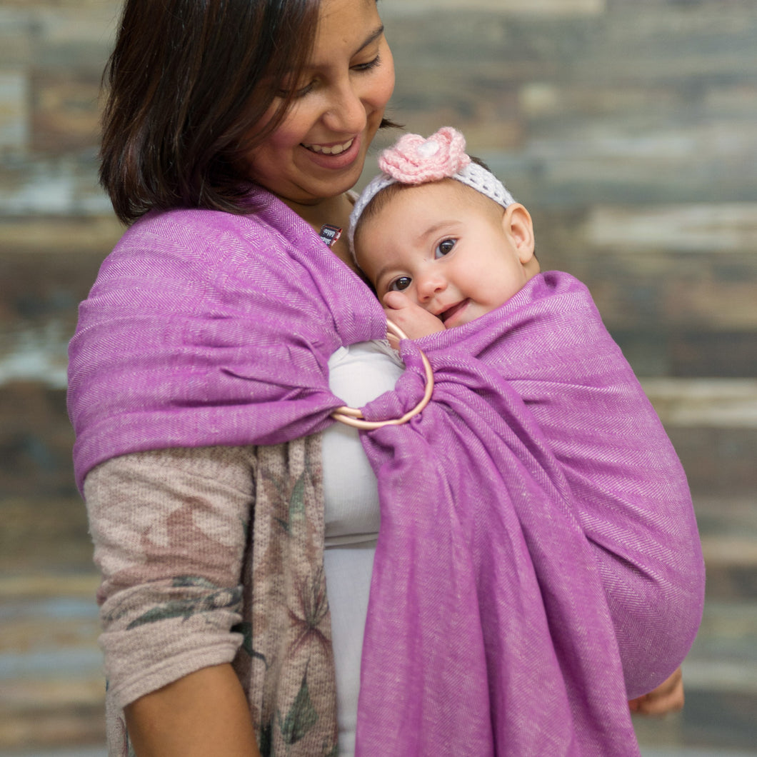 berry + rose gold  |  ring sling baby carrier