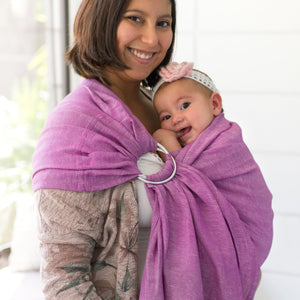berry + shiny silver  |  ring sling baby carrier