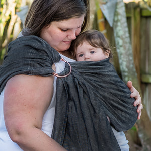 carbon + rose gold |  ring sling baby carrier