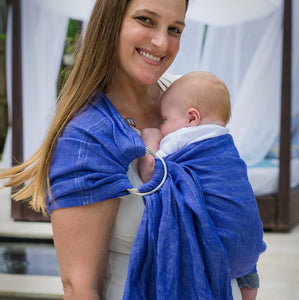electric + silver  |  ring sling baby carrier