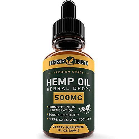 Full Spectrum Hemp Oil for Pain, Anxiety & Stress Relief - 500mg of Pure Hemp Extract - Grown & Made in USA - Anti-Inflammatory & Joint Support - Helps with Sleep, Mood, Skin & Hair - 1 Fl oz (30ml)