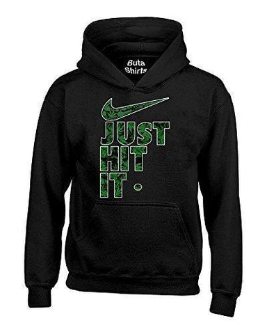 Just Hit It Weed Pattern Funny Marijuana Weed Smoking 420 Parody Hoodie