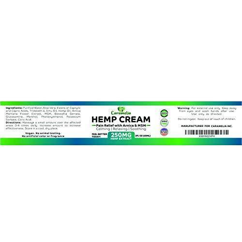 Hemp Extract Cream - 250 Mg - Made in USA - Natural Hemp Pain Relief Cream  for Inflammation, Muscle, Joint, Back, Knee & Arthritis Pain - Hemp Salve