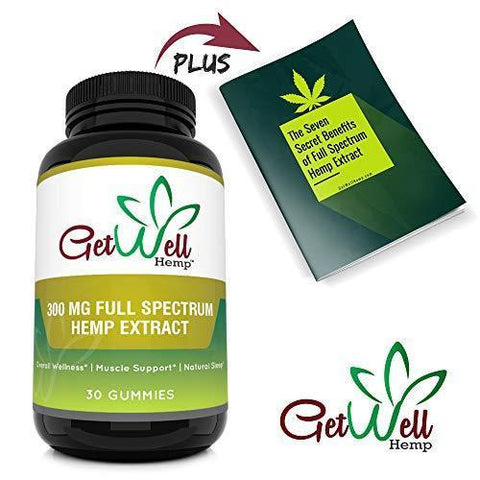 Premium Full Spectrum Hemp Extract Gummy Bears 300 MG, 30 Count, 10 MG per Gummy with Rich Hemp Taste, Great for Skin, Lowers Cholesterol, Rich in Fatty Acids, Omega 6, and Omega 3. Made in USA