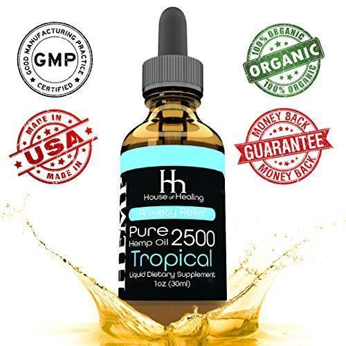 House of Healing Hemp Oil for Pain & Anxiety Relief - 2500mg - Organic Hemp Drops - Natural Hemp Oils for Better Sleep, Mood & Stress - Pure Hemp Extract - Tropical Flavor