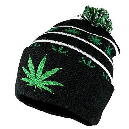 Marijuana Leaf Pom Pom Acrylic Beanie Hat - Black Kelly Green - WB071-85