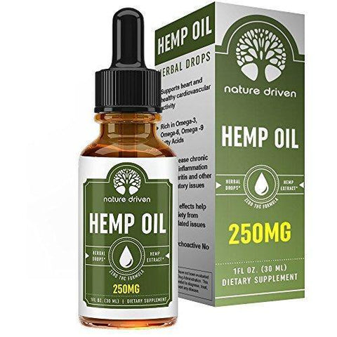Hemp Oil Extract (250mg) - for Pain Relief and Anti-Anxiety Support - All-Natural Ingredients - Promotes Relaxation & General Good Health - 1 FL OZ per Bottle