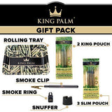 "King Palm Bundle - Tobacco & Chemical Free Super Slow Burning 100% Real Leaf King Rolls (2) + Slim Rolls (3) + 10"" X 8"" Metal Rolling Tray + Smoke Clip (1) + Smoke Ring (1) + Snuffer (1)"