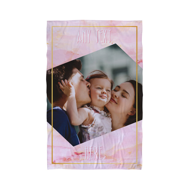 One Photo Pink Marble Gold Personalised Beach Towel