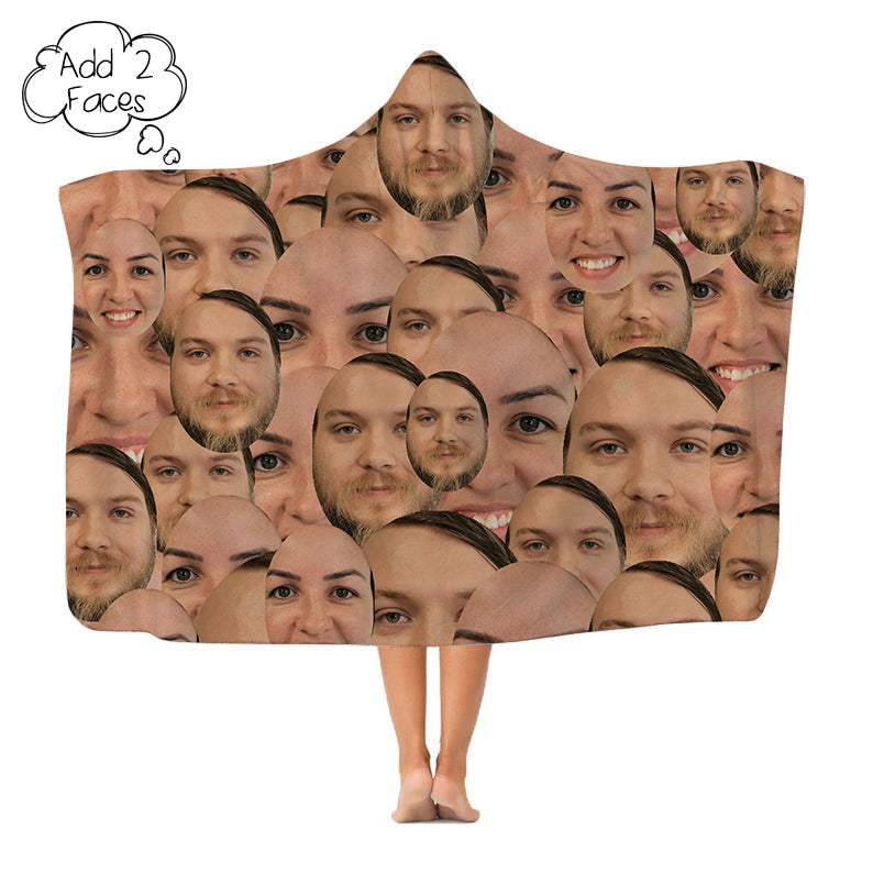 Your Face All Over - Add 2 Faces - Hooded Blanket