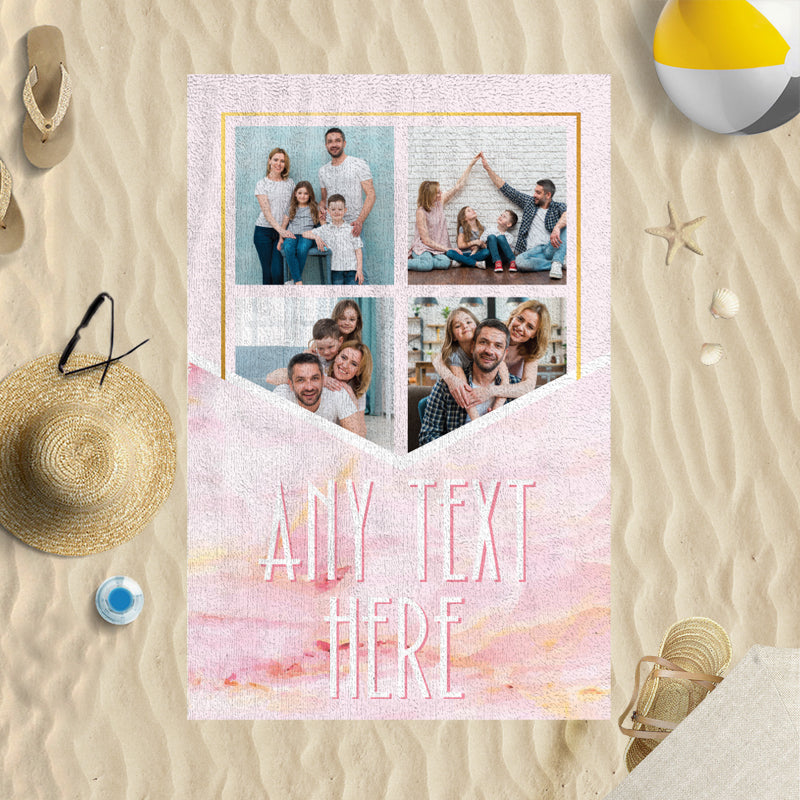 Four Photo Pink Marble Gold Personalised Photo Beach Towel