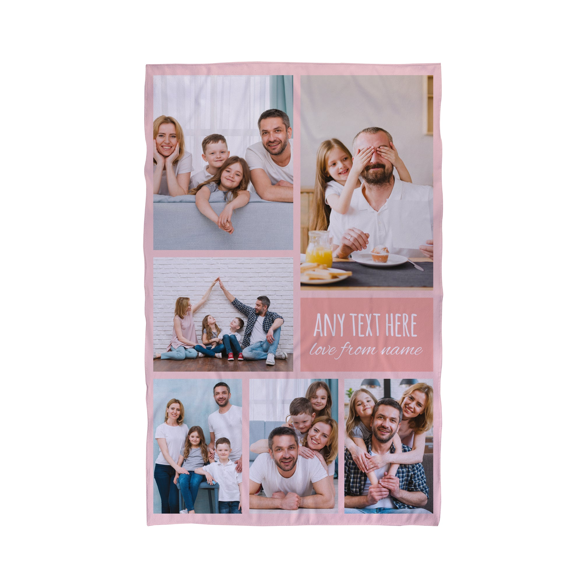 Six Photo Collage Pink Personalised Beach Towel