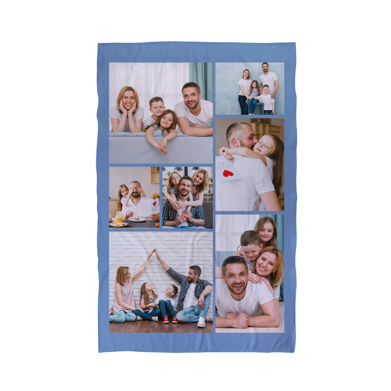 Seven Photo Collage Blue Personalised Beach Towel