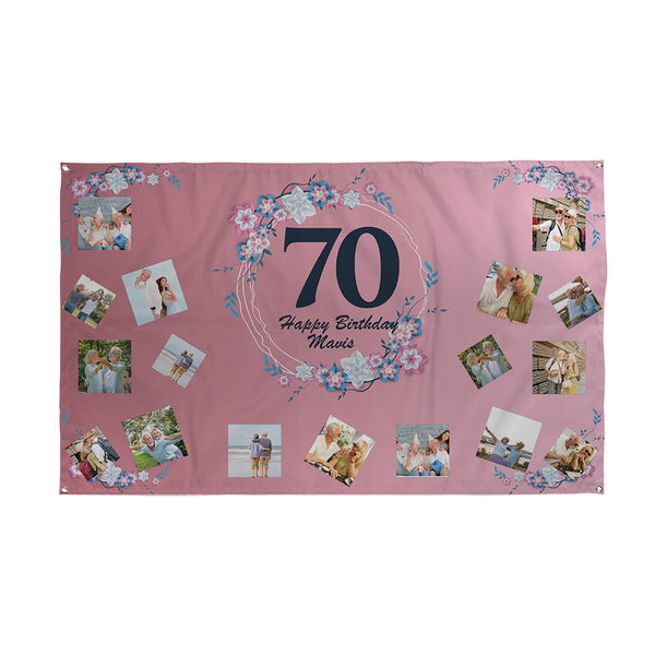 Personalised 70th Birthday Banner | Waterproof
