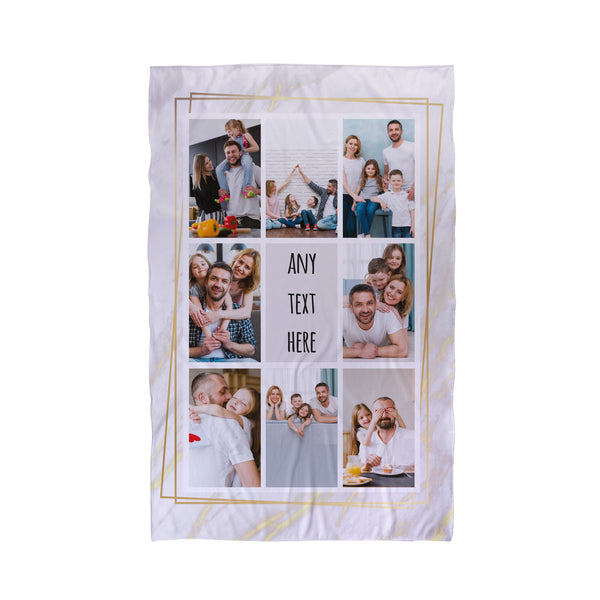 8 Photo Marble Gold Personalised Beach Towel