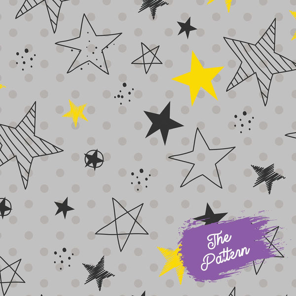 Add 9 Photos - Hand Drawn Stars - Pillow Case