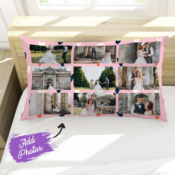 Add 9 Photos - Hearts - Pillow Case