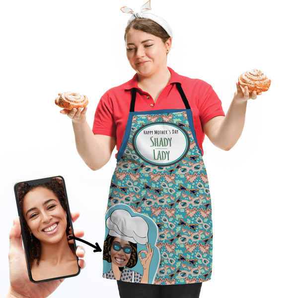 Retro Sunglasses Repeat - Personalised Adults Apron