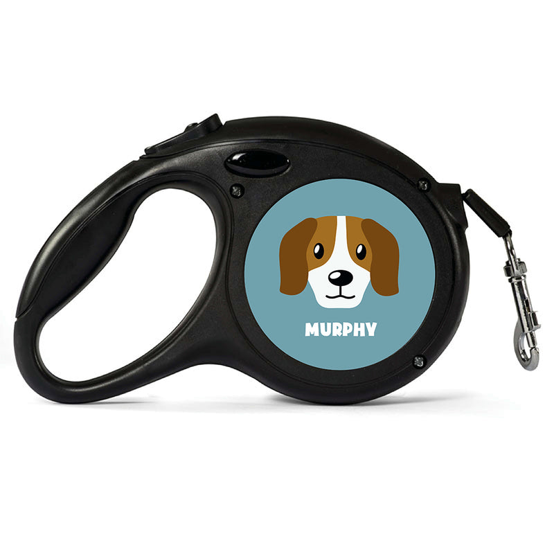 Personalised Beagle Retractable Dog Lead - Large