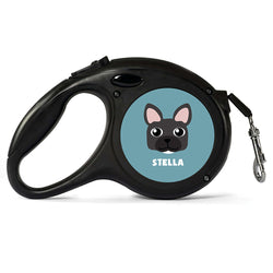 Personalised Black French Bulldog Retractable Dog Lead - Large