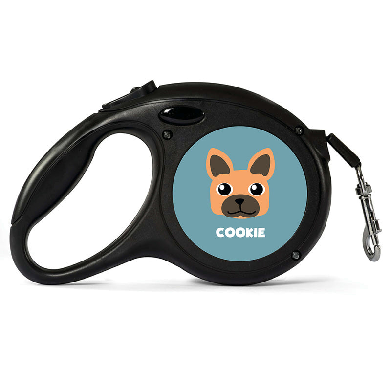Personalised Brown French Bulldog Retractable Dog Lead - Large