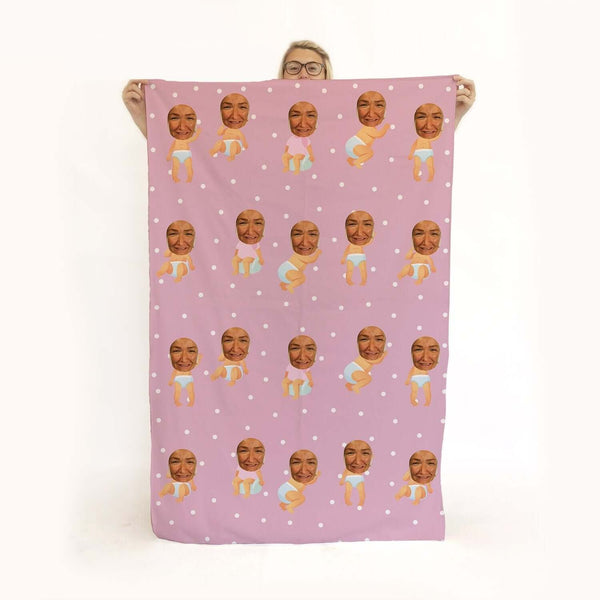Baby Pink - Face Character Beach Towel