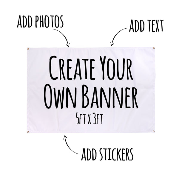 Create Your Own Personalised Party Banner or Flag 5ft x 3ft | UK