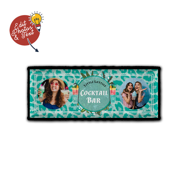 Cocktail Bar -Blue Leopard - Personalised Bar Towel