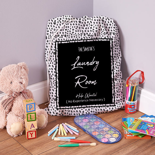 Personalised Help Wanted - Black Spot - 1 Image - Laundry Bag