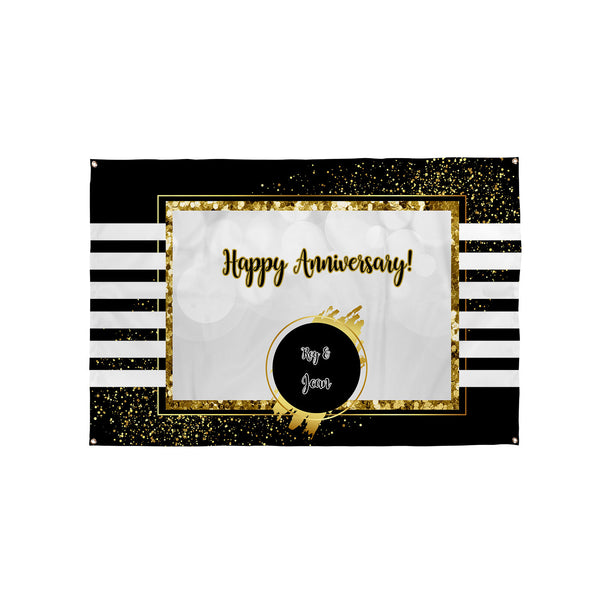 White Stripes - Gold Glitter Party Backdrop - 5ft x 3ft