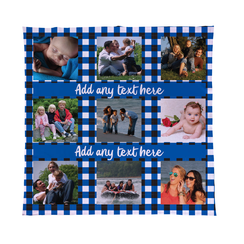 Personalised Checked Photo Fleece Blanket Throw