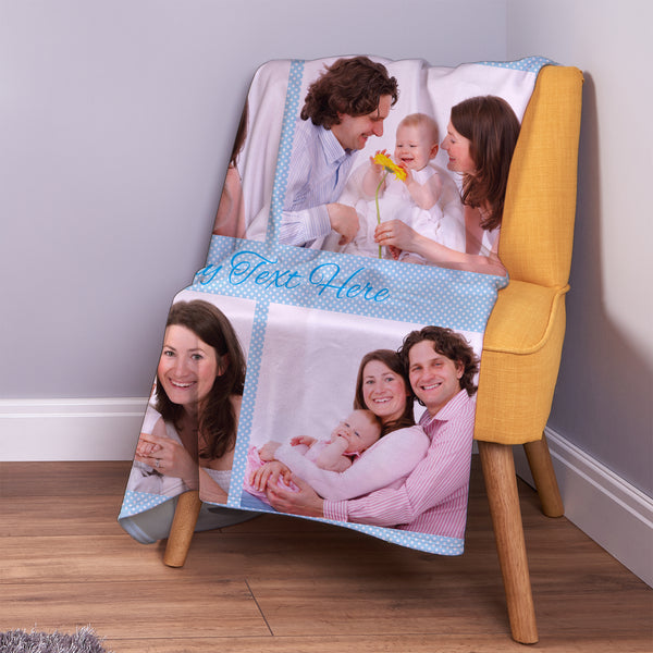 Blue Polka Dots - 4 Photo - Personalised Photo Fleece Blanket